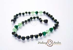 Raw Molasses & Green Aventurine & Malachite necklace (13 inches)