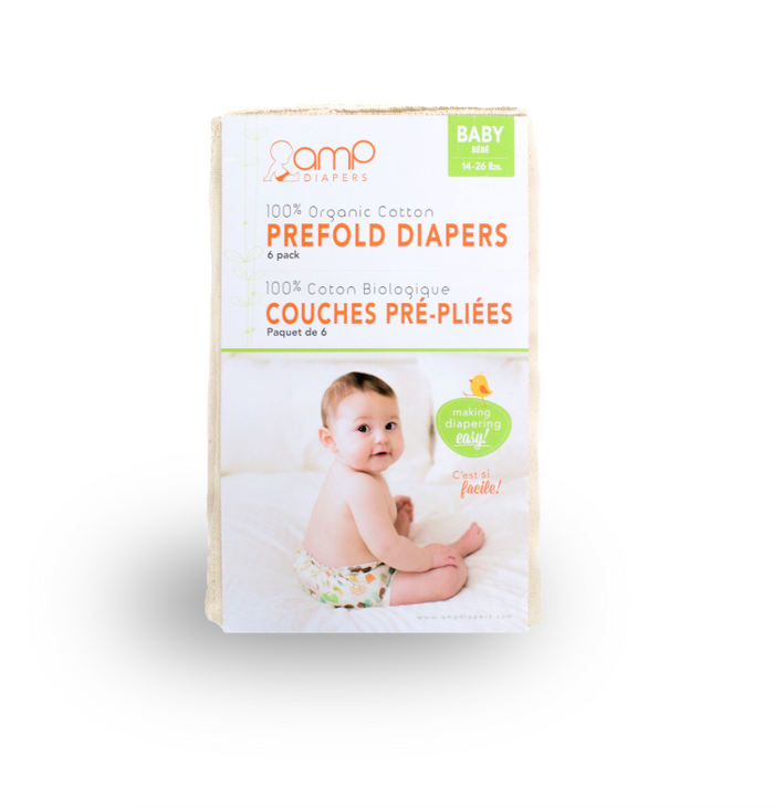 "AMP Organic Cotton Prefolds - Baby (14x18"") - 6 pack"
