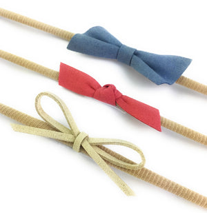 Blue, Coral, Tan - 3 Pack Bow Headbands by Baby Wisp