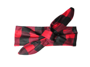 Canadiana Red + Black Top Knot Headband by Baby Wisp
