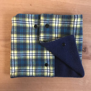 Baby (with snaps) Blue and green plaid with navy fleece Neck Warmer by the red bow tie