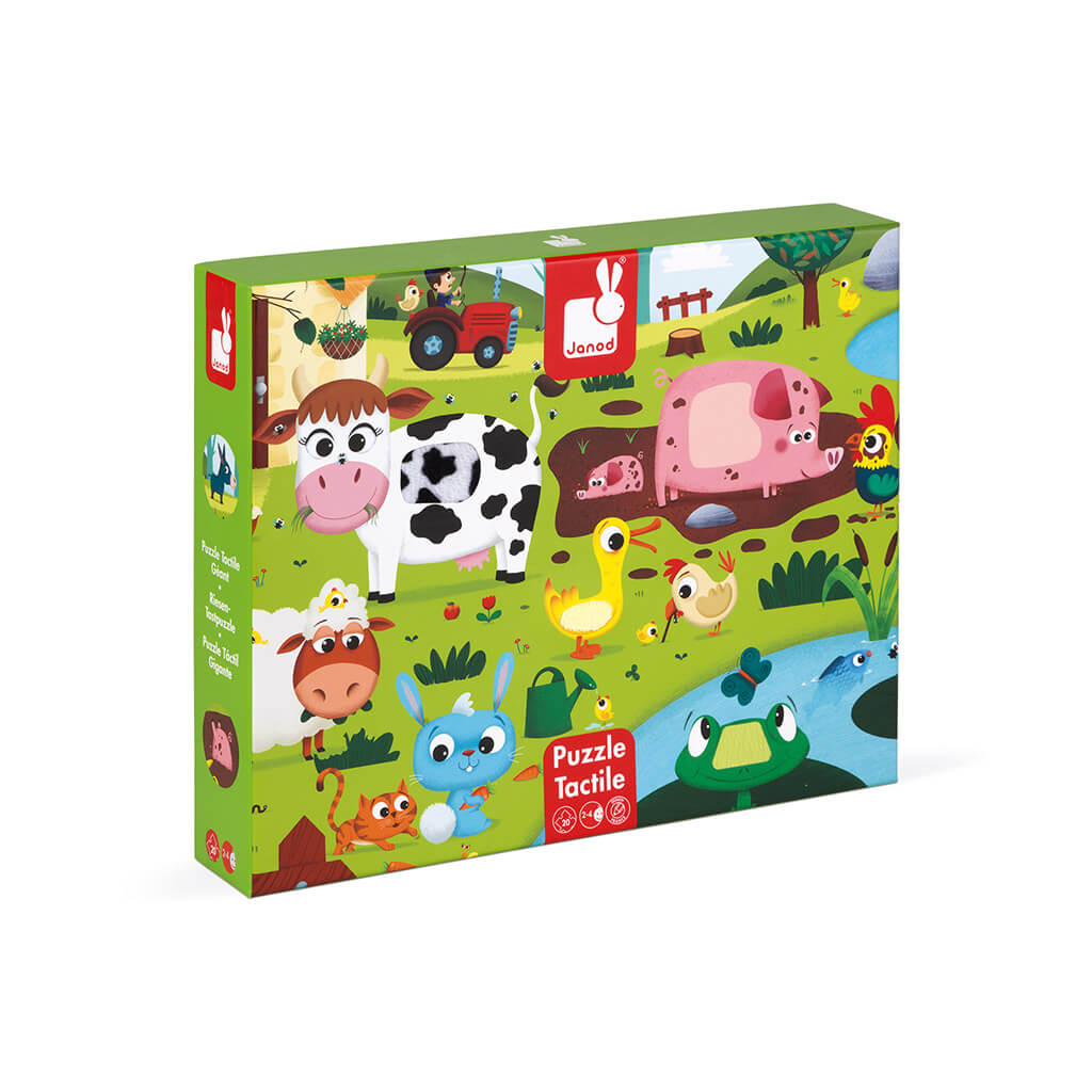 Tactile Fuzzy Farm Puzzle - 20 piece puzzle by Janod
