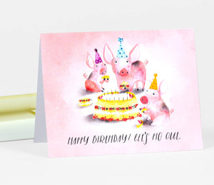Happy Birthday! Let's Pig Out - Loose Leaves Paper Goods card