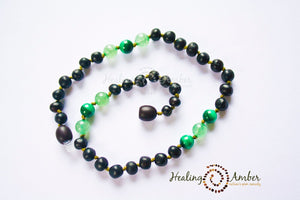 Raw Molasses & Green Aventurine & Malachite necklace (11 inches)