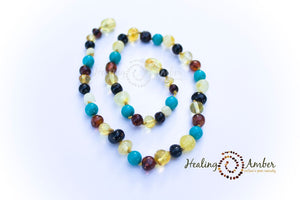 Multi Amber & Turquoise Gemstone necklace (11 inches)