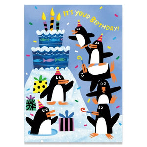 Birthday Penguins - Fuzzy Texture - Peaceable Kingdom cards