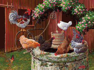Cobble Hill Easy Handling - The Chicken Are Well - 275 Piece Puzzle