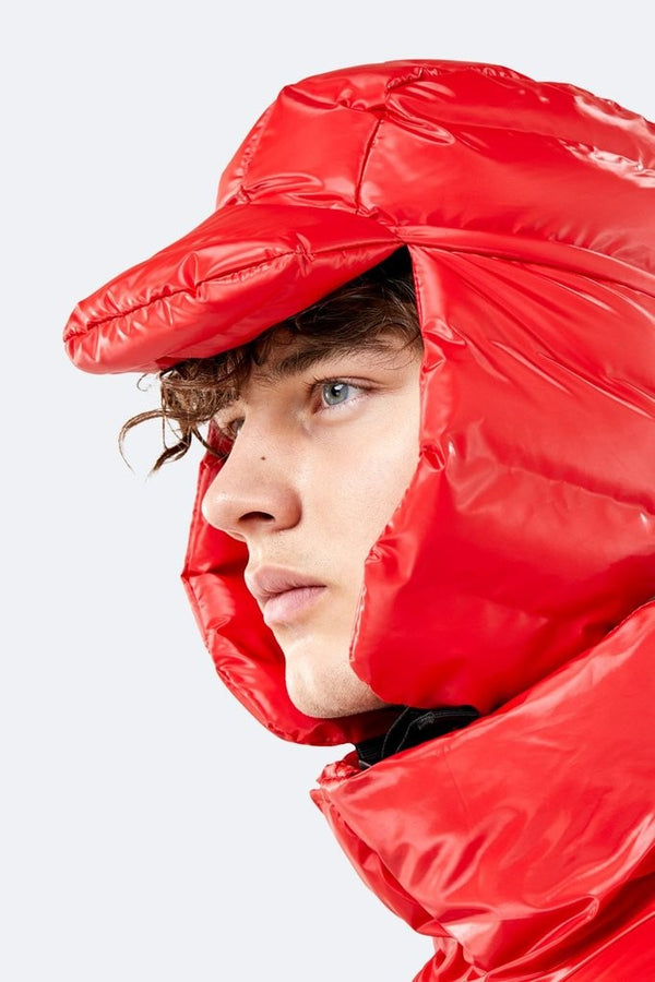 Rains Puffer Hat Shiny Red