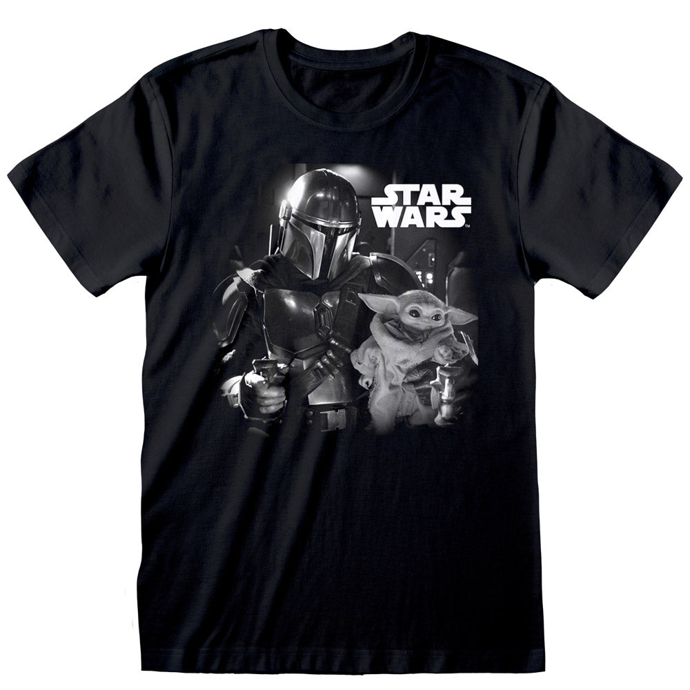 Star Wars The Mandalorian The Child Baby Yoda BW Photo T-Shirt Black