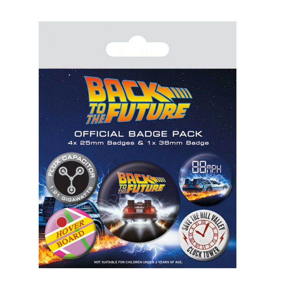 Back to the Future Pin Badges 5-Pack DeLorean