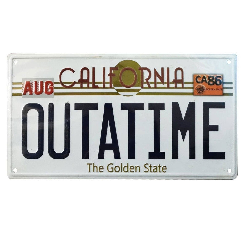 Back To The Future Metal Sign Outatime DeLorean License Plate