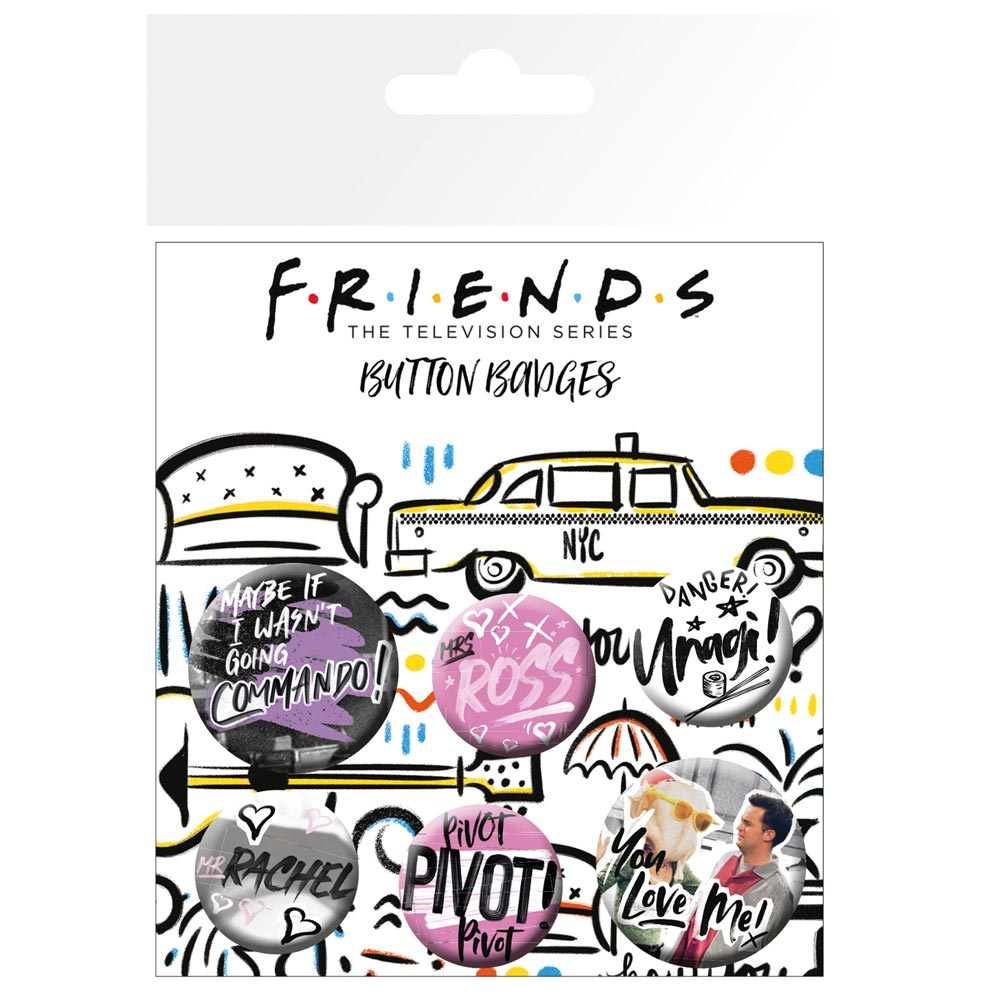 Friends Doodle Pin Badge Set