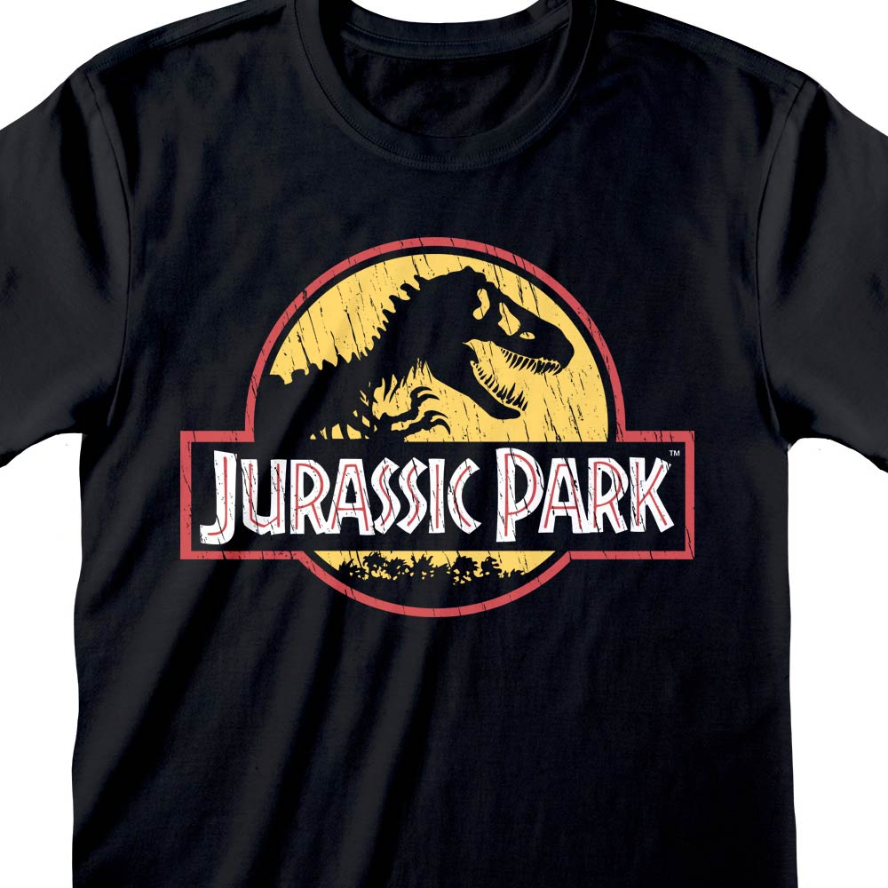Jurassic Park Original Logo Distressed T-Shirt Black