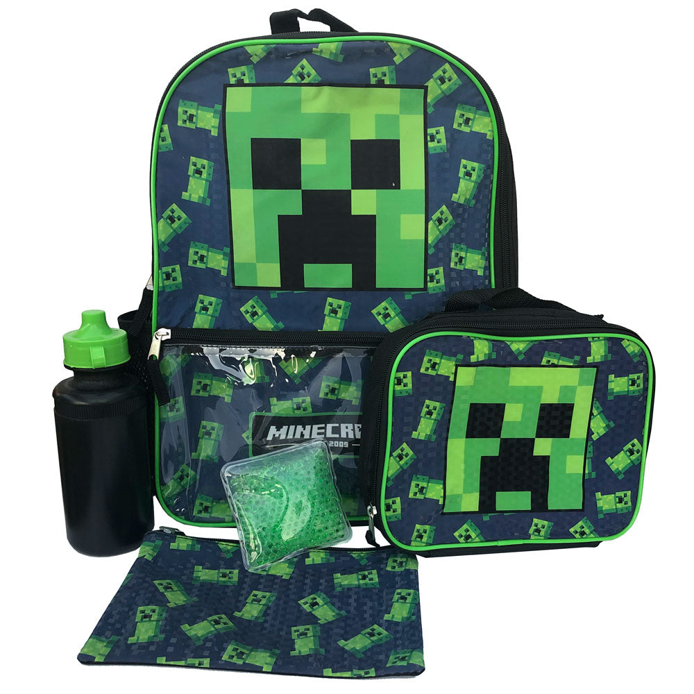 Minecraft Creeper Kids Back To School Backpack 5 Pc Set