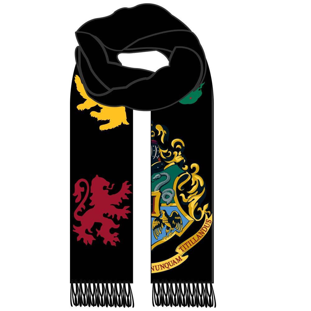 Harry Potter Hogwarts Houses Scarf Black