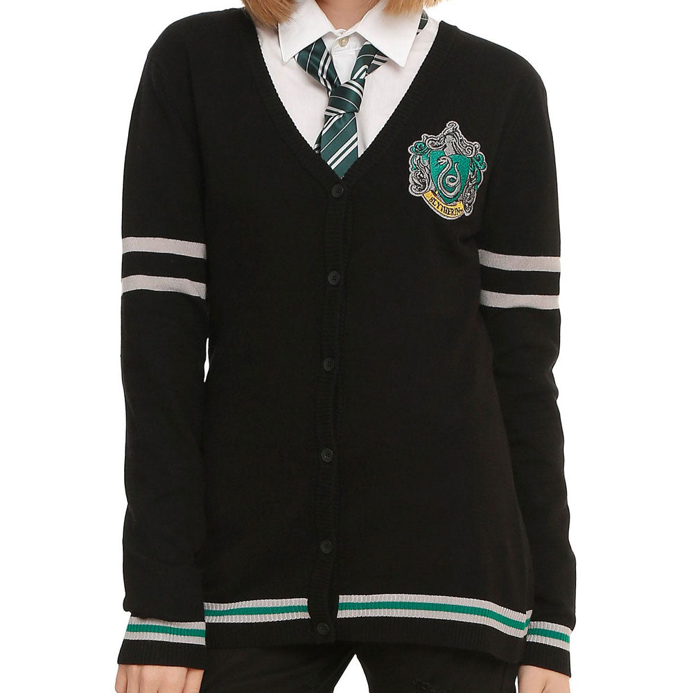 Harry Potter Long Sleeve Slytherin Crest Varsity Womens Cardigan