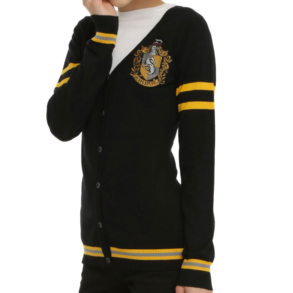 Harry Potter Long Sleeve Hufflepuff Crest Varsity Womens Cardigan