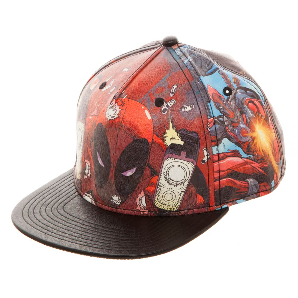 Deadpool Guns Blazing Faux Leather Snapback Cap