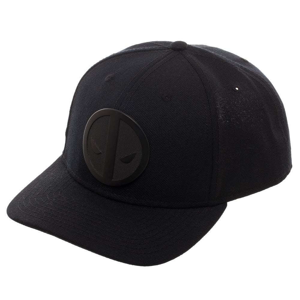 Deadpool Black Metal Badge Curved Snapback Cap