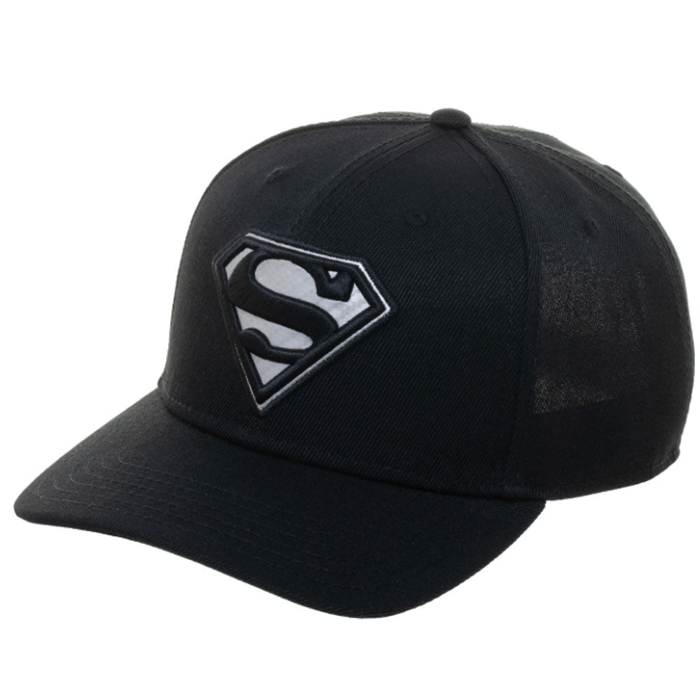 Superman Black Carbon Fibre Snapback Cap