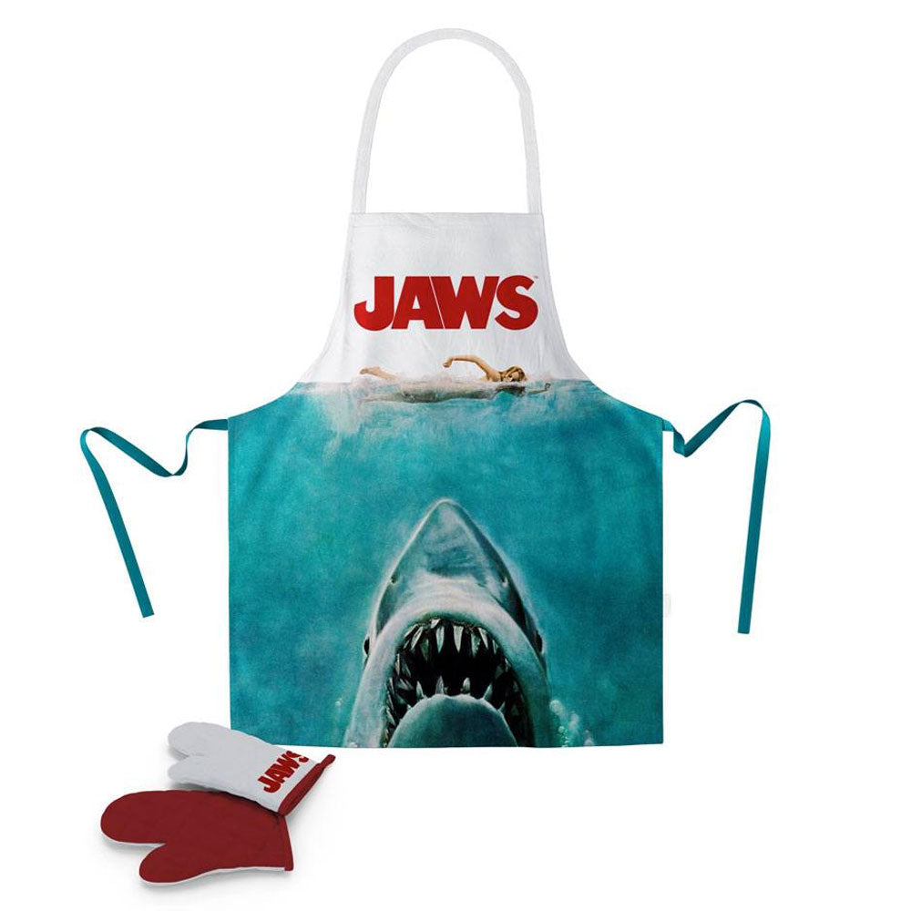 Jaws Cooking Apron with Oven Mitt Original Poster