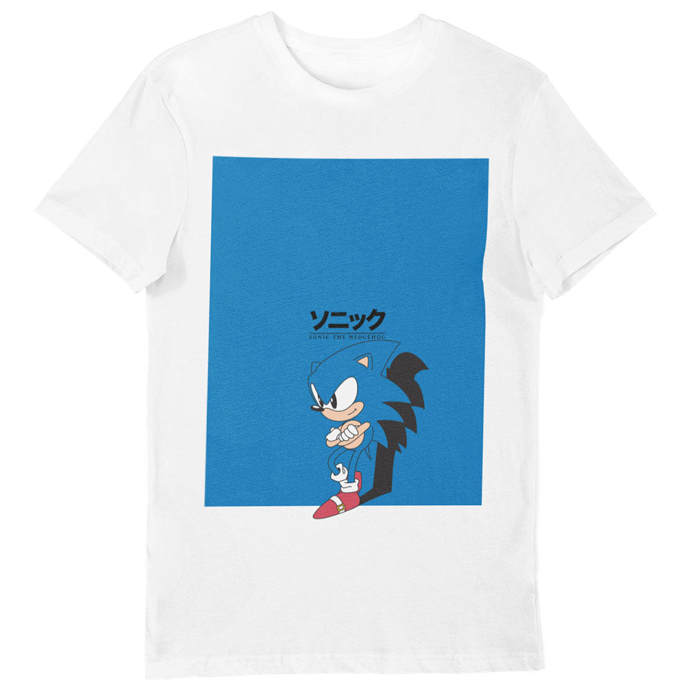 Sonic The Hedgehog Big Blue Square T-Shirt White