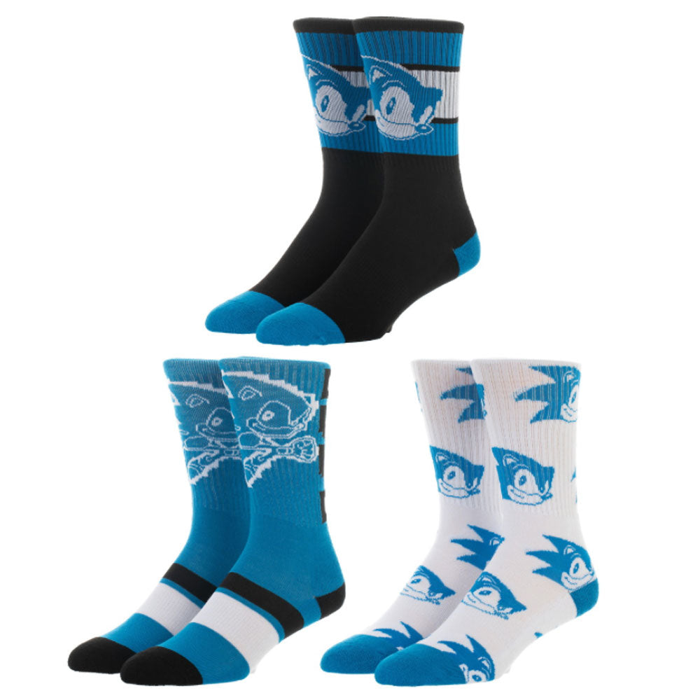 Sega Sonic The Hedgehog Athletic Crew Socks 3 Pack