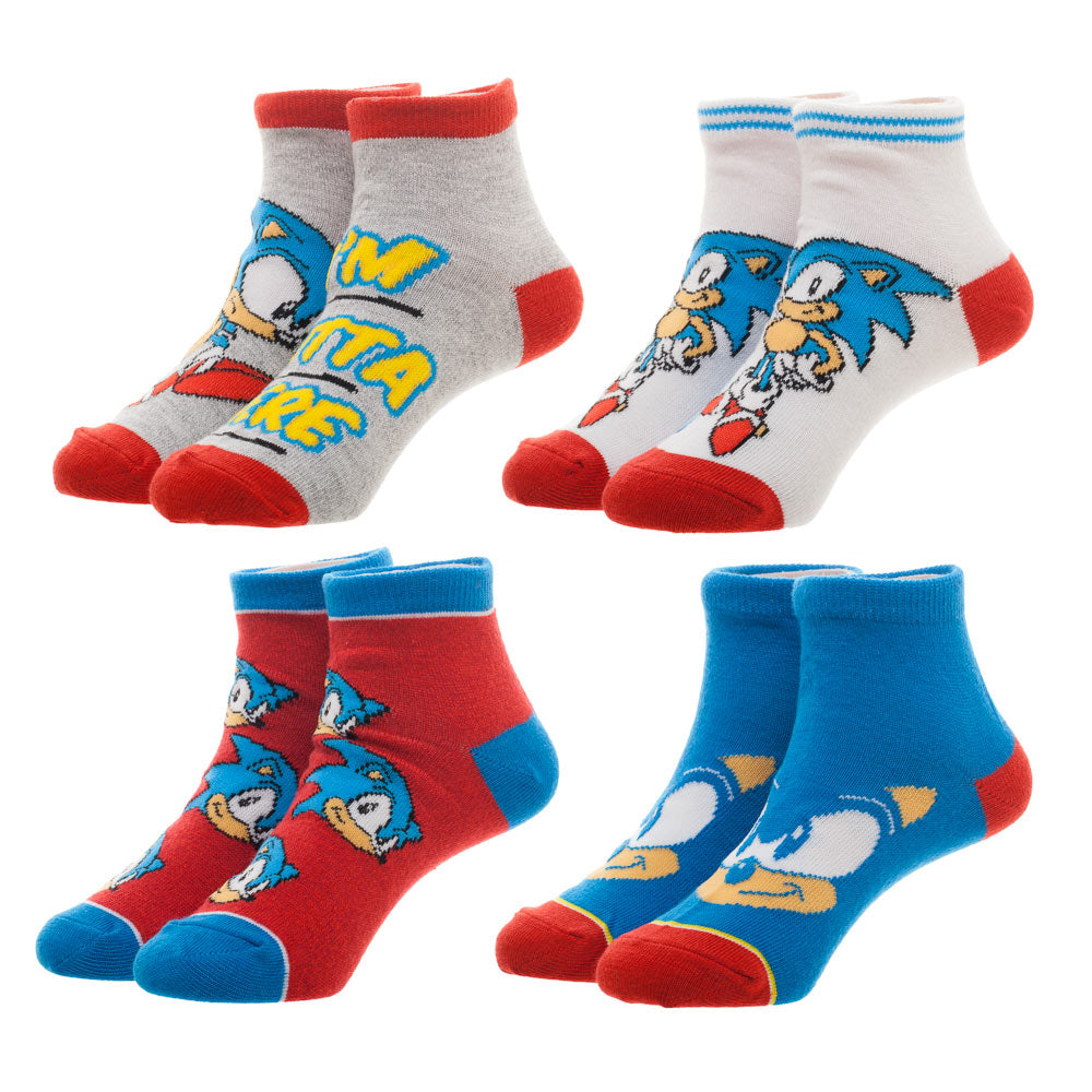 Sonic The Hedgehog Kids Ankle Socks 4 Pk