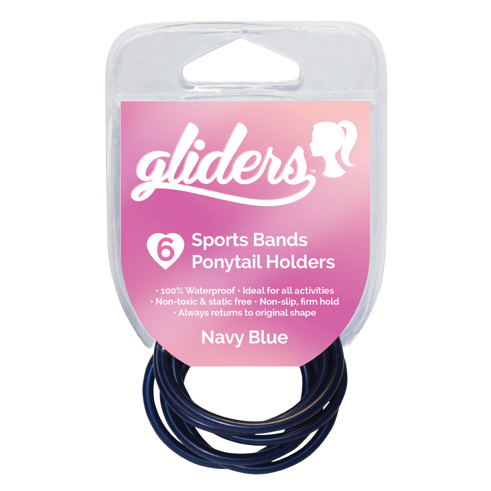 Gliders non slip sports band ponytail holders navy