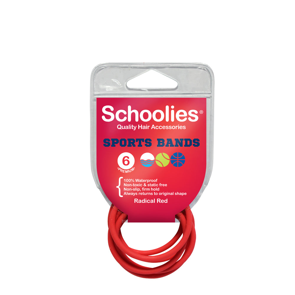 Schoolies Sports Bands 6pc - Radical Red