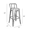 Dreux Gunmetal Low Back Steel Counter Stool (Set of 4)