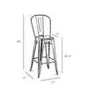 Dreux Dark Gunmetal Steel High Back Barstool 30 (Set of 4)
