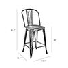 Dreux Gunmetal Elm Wood Counter Chair 26 Inch (Set of 4)