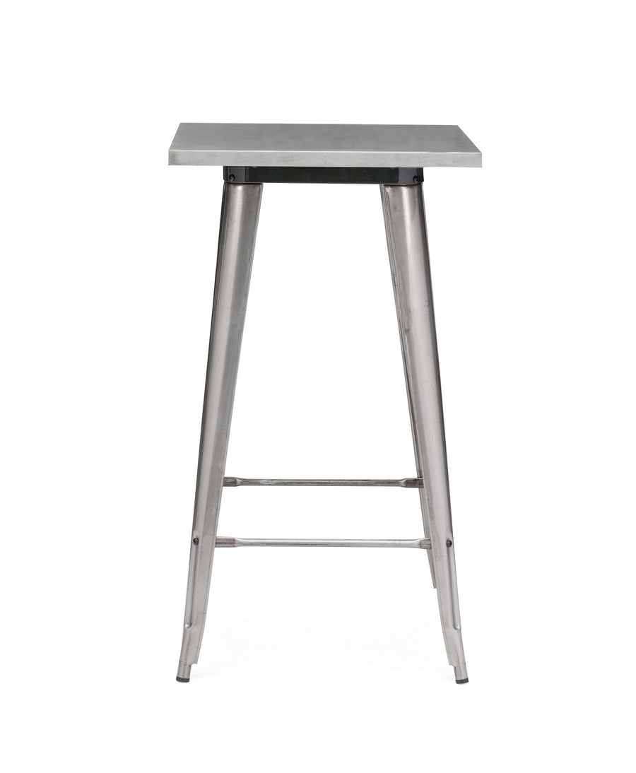 Dreux Clear Gunmetal Steel Bar Table 42