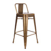 Dreux Vintage Brass Low Back Steel Counter Stool 26 Inch (Set of 4)