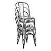 Dreux Stackable Vintage Brass Steel Side Chair (Set of 4)