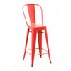 Dreux Glossy Red Steel High Back Barstool 30 (Set of 4)