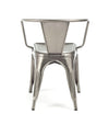 Dreux Clear Gunmetal Stackable Steel Dining Chair (Set of 4)