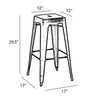 Dreux Stackable Glossy White + Elm Wood Seat Steel Barstool (Set of 4)