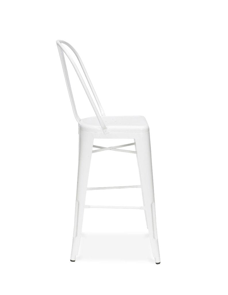 Dreux Glossy White Steel Counter Chair 26 Inch (Set of 4)