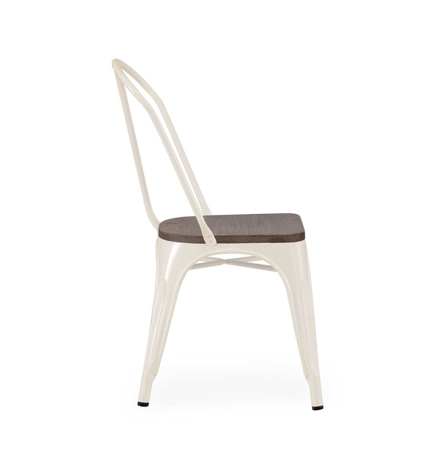 Dreux Glossy Cream Elm Wood Stackable Side Chair (Set of 2)