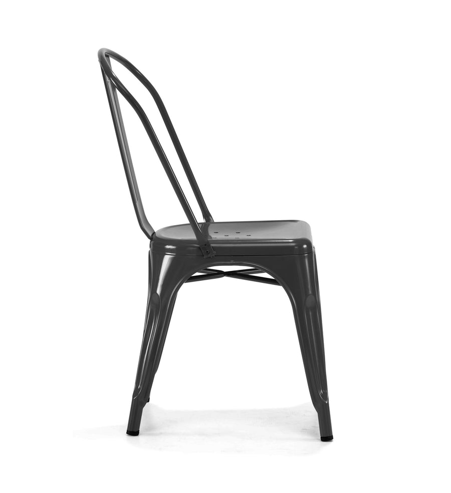 Dreux Glossy Black Steel Stackable Side Chair (Set of 2)