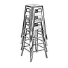 Dreux Stackable Vintage Matte White + Black Steel Barstool (Set of 4)