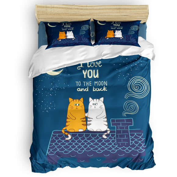 *I Love You- Two Cats On The Roof Night Duvet Cover Set 2/3/4pcs Bedding Set