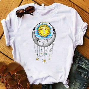 *Lady T Shirt - Moon- Sun- Star Printed Sizes: S-4X