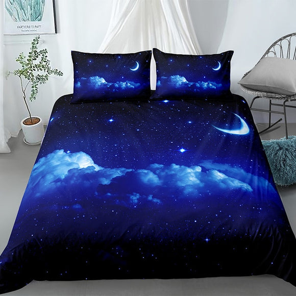 *Dreamy Midnight Blue Sky - Moon Duvet Cover Set