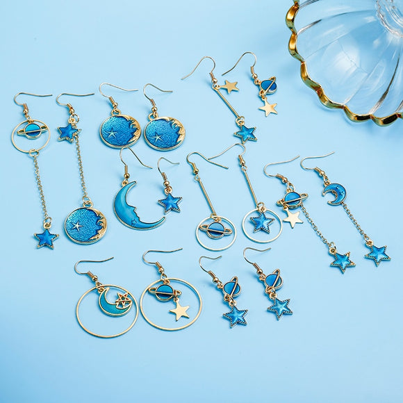 *Earings - Sun, Moon, Star Blue Enamel- Choose From 8 Designs
