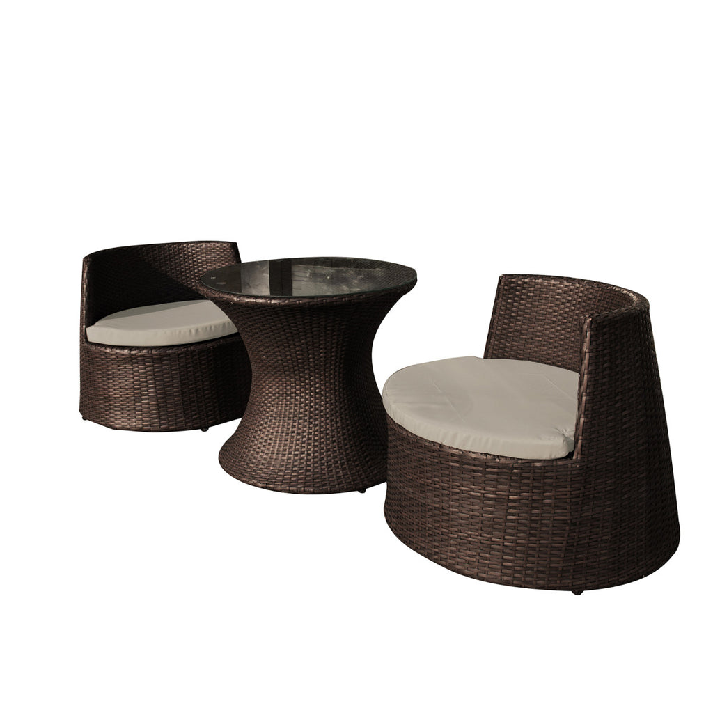 Oasis 3 Piece Outdoor Wicker Chat Set - Table and 2 Chairs