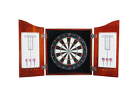Centerpoint Solid Hardwood Dart Board Cabinet Set Steel Tip Darts Dartboard Game