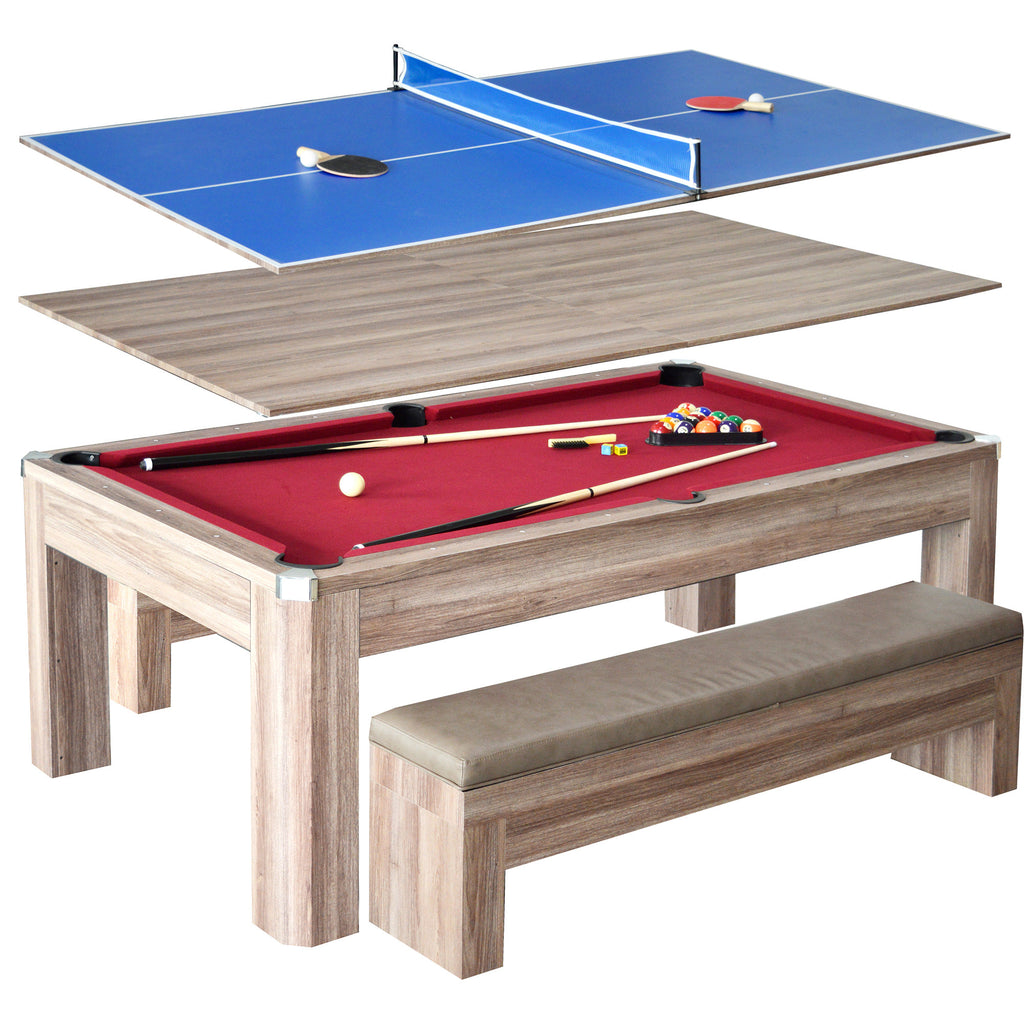 Driftwood Park Avenue 7' Combo Dining Pool Table plus Table Tennis Set